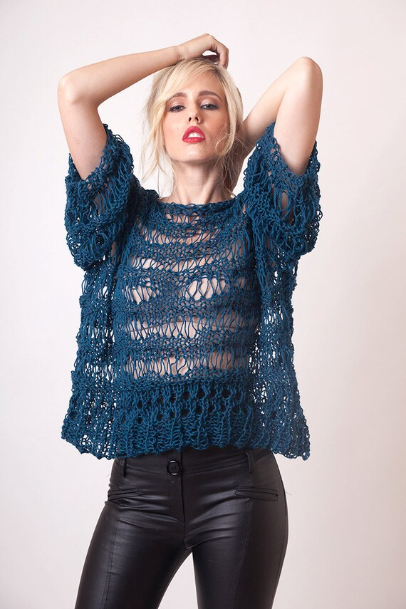 64c7e684185 Wool sweater for women distressed knit pullover grunge