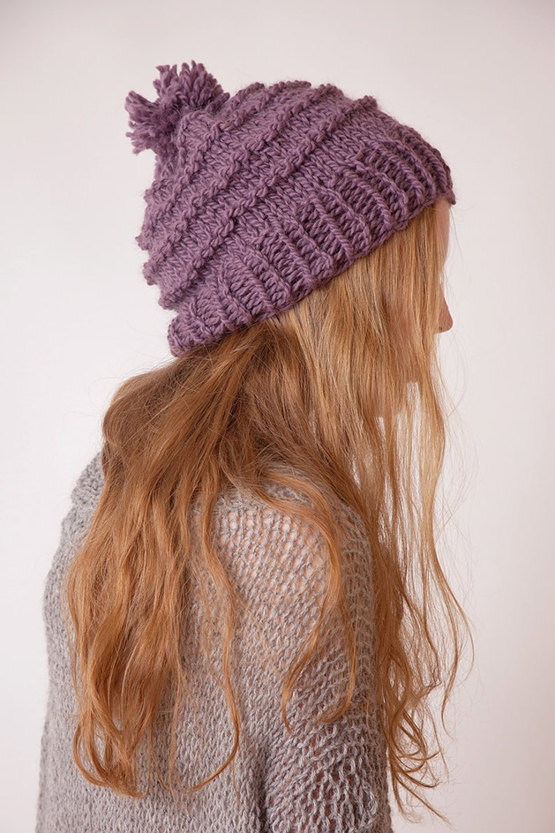 e3029d463e2e8 Knit hat with pom pom violet alpaca wool beanie gift for
