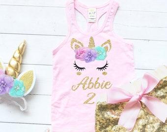 1e64f0b89 Personalized Unicorn Birthday Outfit, Girl Unicorn Tank, Unicorn Headband  For Girls, Party Favors, Toddler Birthday Shirt, Sequin Shorts