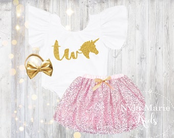 Unicorn 2nd Birthday Outfit Two Baby Girl Clothes Girls Sequin Tutu Skirt With Gold Headband Second Leotard