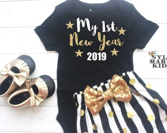 be9b22e7dc899 My First New Year 2019, New Years Party, Girls New Year Outfit, New Years  Baby Outfit, Black and Gold, Glitter Baby Outfit, New Years Eve