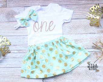 Mint and Gold 1st Birthday Outfit, Girls First Birthday, First Birthday Outfit, 2nd birthday outfit, Toddler Girls, cake smash outfit girl,