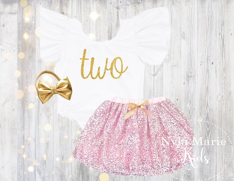 af5a3d42 Pink and Gold 2nd Birthday Outfit Baby Girl Second Birthday | Etsy