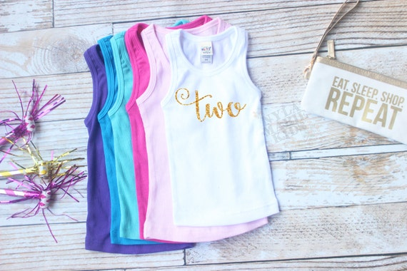 Second Birthday Outfit Girl Two Year Old Girl Birthday Tank Top