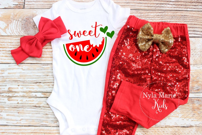 822251ec078b8 Watermelon Birthday Outfit, Girls 1st Birthday Outfit, One in A Melon, Girl  Leggings with Red Baby Headband, Summer Birthday Outfit