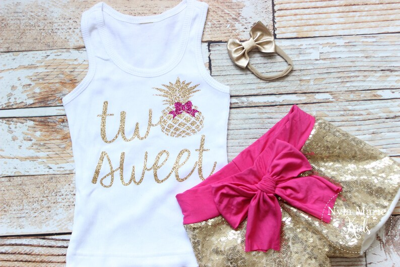 Luau Birthday Pineapple second birthday outfit Pineapple two shirt Glitter two Shirt with Sequin Shorts, tropical second birthday