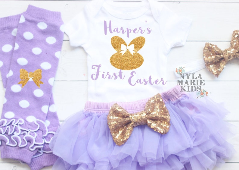 292dcc064 Baby Girl First Easter Outfit My 1st Easter Glitter with | Etsy