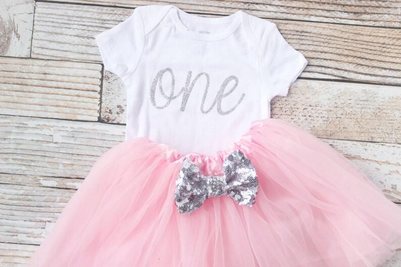 1e157bcbe8275 Pink First Birthday Outfit Girls Birthday Baby twirl skirt   Etsy