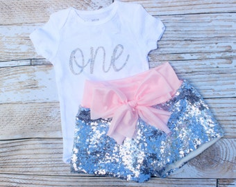 Pink and silver birthday outfit, first birthday outfit girl, one birthday outfit, pink and silver cake smash outfit, baby sequin shorts,