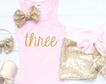 3rd birthday outfit, toddler birthday outfit, gold sequin shirts, pink and gold birthday, third birthday outfit girl, Pink birthday outfit