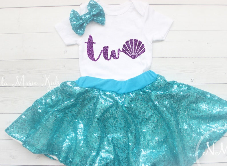 9b649ada10958 Mermaid 2nd Birthday Outfit Second Birthday Tutu Outfit | Etsy