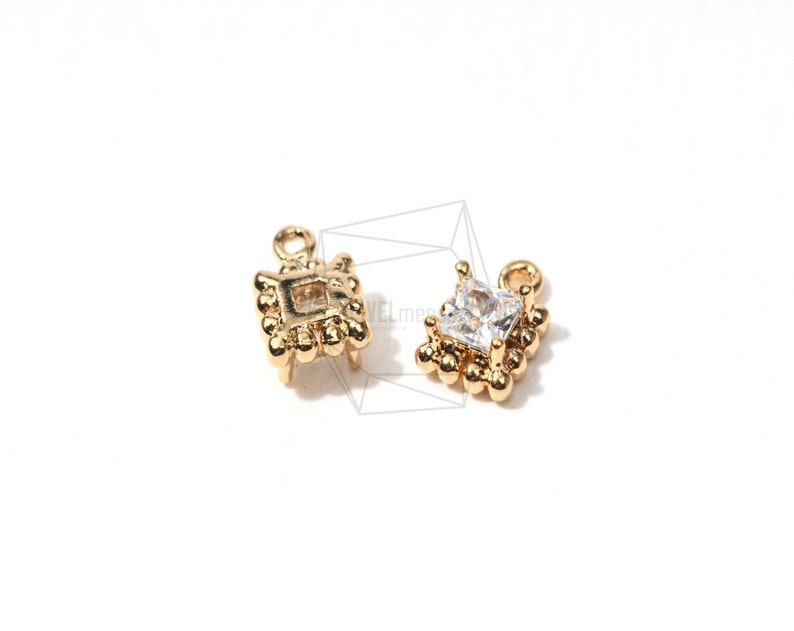 PDT-030-G5Pcs-CZ Rectangle Connector-Dotted Rectangle Pendant Set With Cubic Zirconia-Clear Cubic Zirconia Rectangle Charm