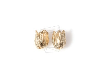 PDT-663-MG/4PCS/Textured Empty Tulip Bulb Pendant/12mm x 9mm/Matte Gold Plated Over Brass