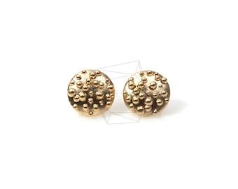 ERG-140-MG/2pcs/Circle Dots Post Earrings/10mm x 10mm/Matt Gold Plated Over Brass