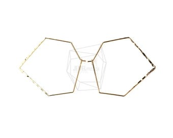 PDT-396-G/2PCS/Textured Wire Pentagon Earring/40mm x 42/Gold Plated over Brass