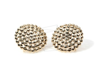 ERG-188-G/2PCS/Dotted Circle Earring Post/20mm x 20mm/Gold Plated Over Brass