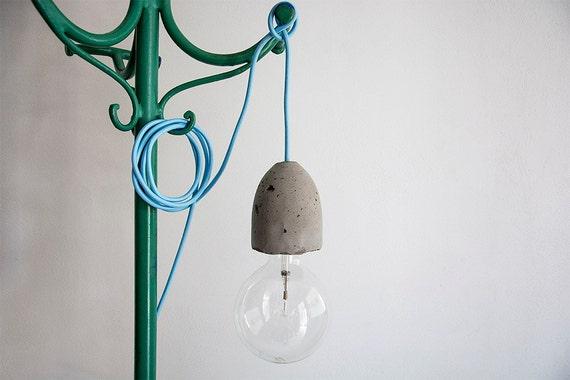 Douille en béton, cache douille ciment gris foncé, pour lampe suspension