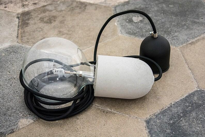Lampada sospensione cemento lampada cemento con filo etsy