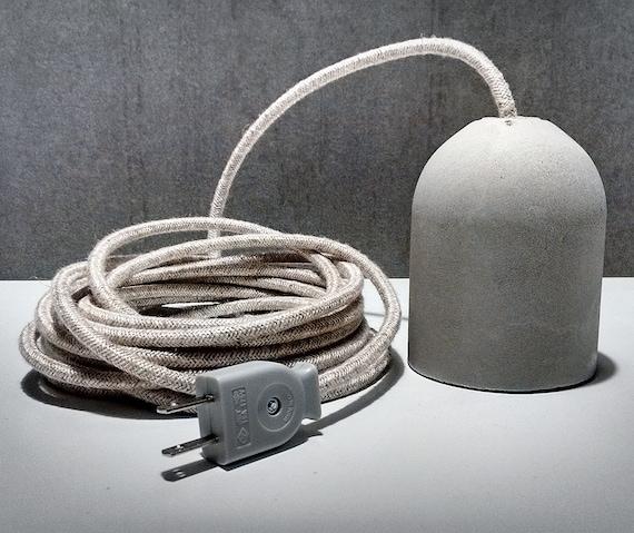 Beton-Lampe mit Stecker Steckdose und Stecker Draht Stoff | Etsy