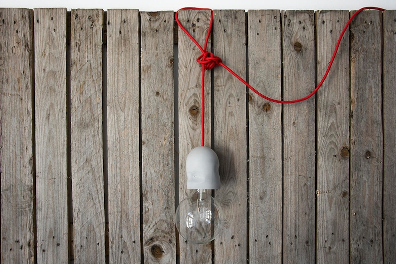 3 meters fabric cable Concrete Pendant Lamp with power plug image 0