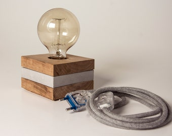 Wood Concrete and Wood Table Lamp - Cremino -