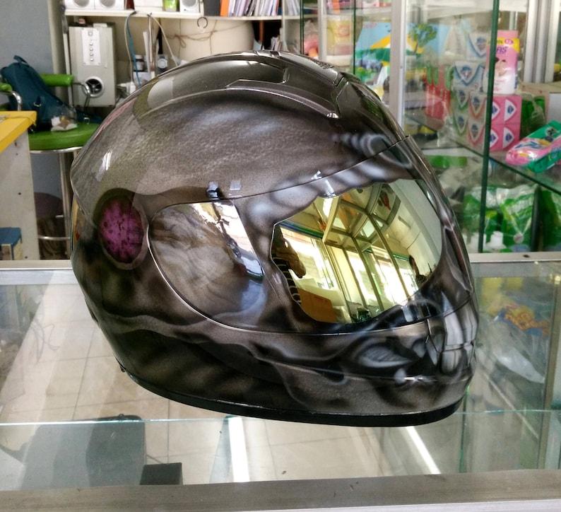 Custom airbrush painted motorcycle helmet