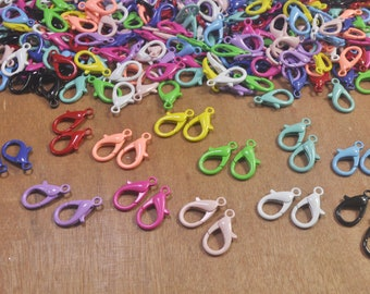 30Pcs Mixed Color Small Lobster Clasps,12mm parrot clasps,Claw Clasps,Wholesale Necklacebangles Clasp,zinc alloy Clasps Making Supplies