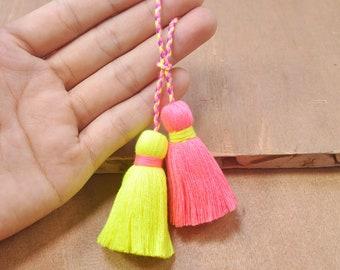 2pc Gold Tassel 22k Gold Plated Cap Mini Cotton Tassels Earring Tassel Neon Pink Cotton Tassels Necklace Tassel Bracelet Tassels