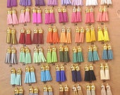 100 Faux Suede Leather Tassels,Assorted Color Tassels With Gold Cap,1.5 quot Mini tassels,for Keychains,Bracelet Tassel,You Choose the Color