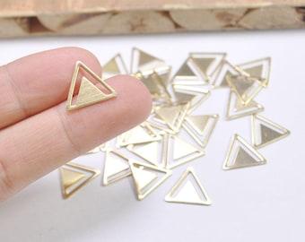 20pcs Raw Brass Triangle Pendant,Raw Brass Triangle Tube Bead Charm\uff0cGeometric Jewelry Supply 10x10x3mm