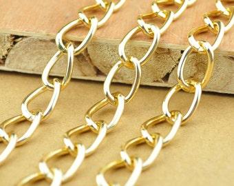 16.4 ft corrugated gold coloured aluminium twist chain 7x6 mm 5 m