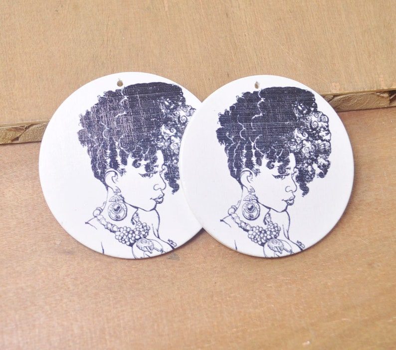 Flat Round Wooden Earrings,Ethnic Jewelry-60mm-FF22# 6Pcs DIY Wooden Earrings,Woman Earrings,fashion wood earring,Afrocentric Jewelry