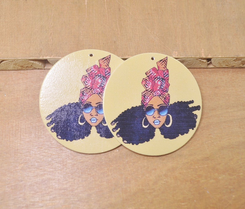 6Pcs DIY Wooden Earrings,Afro African wood earring,Africa Girl earrings,Flat Round Wooden Earrings,Big Earrings,Ethnic Jewelry-60mm-FF112#