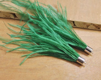 2pcs invisible green Swan Feather Tassel Boho Necklace Pendant,Silver Cap Feather Earrings Pendants,Tassel Pendant for jewelry making