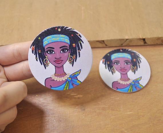 10Pcs DIY Wooden Earrings,African wood earring,Unicorn Wood earrings,Flat Round Wooden Earrings,Big Earrings,Ethnic Jewelry-60mm-FF175#