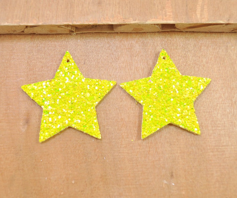Necklaces,Faux Leather Pendant Charm-50mm-FF4217# 10Pcs Yellow Glitter Leather Stars,Stars For Earrings