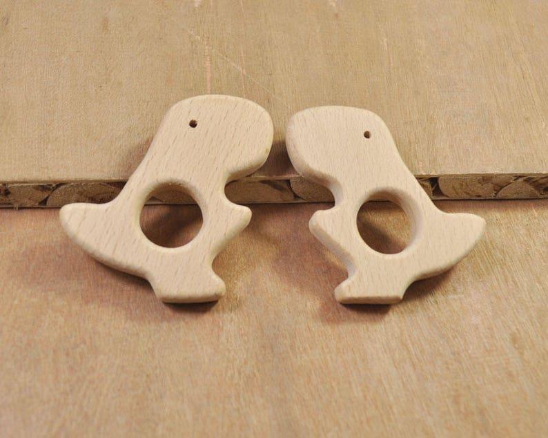 2Pcs Unfinished Wood T-rex PendantBeech Wooden TeetherSafe for teethingWooden Animal Toy for Nursing Necklace or Bracelet