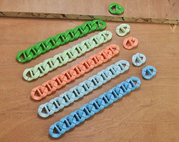 Mixte des maillons de la chaîne en plastique couleur, double maillons de la chaîne, lien en plastique ouverte, chaînes épaisse en plastique, 5 couleurs options--20x26mm.