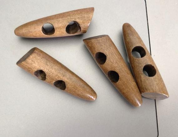 Couleur naturelle bois bascule boutons 35 mm avec deux trous x 10
