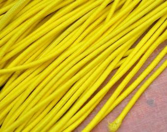 Yellow Elastic Cord,2.5mm Yellow Elastic cord Elastic round Rope Trim DIY supplies,Nylon Exterior Rubber Interior--5yards/10yards/50yards
