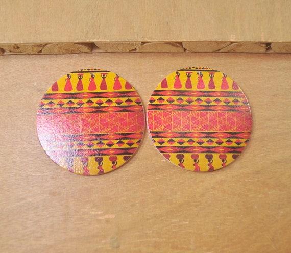 6Pcs DIY Wooden Earrings Flat Round Wooden Earrings,Big Earrings,Ethnic Jewelry-60mm-FF12# African wood earring,African Jewelry