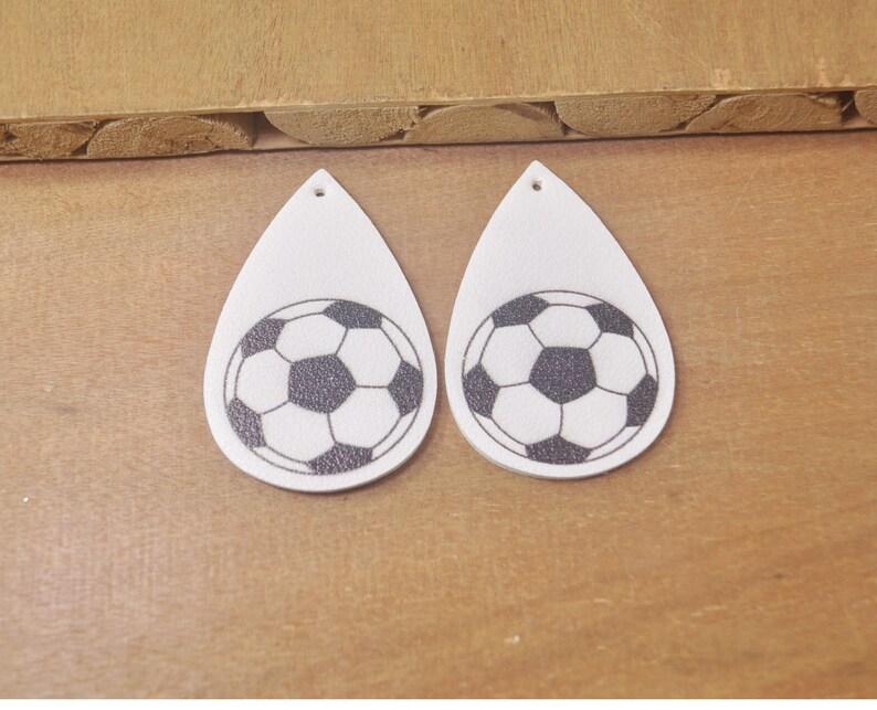 10Pcs White Football Leather Teardrop Charm Pendants,Faux Leather,vegan leather earrings,Football Earrings,Double sided--FC5113#