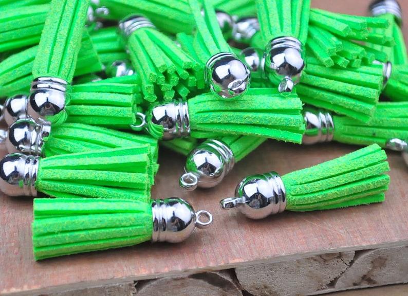 Fringe Tassel--20pcs of Green Flash Colors Imitation Leather Tassel with Silver Caps Bag Charms Pendant 38x10mm--F2EL27