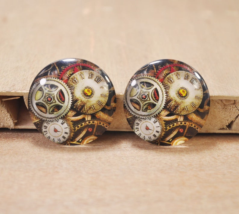 4PCS 30mm Handmade Round Photo glass Cabochons,Clock Mechanical Gear glass bead pendant.