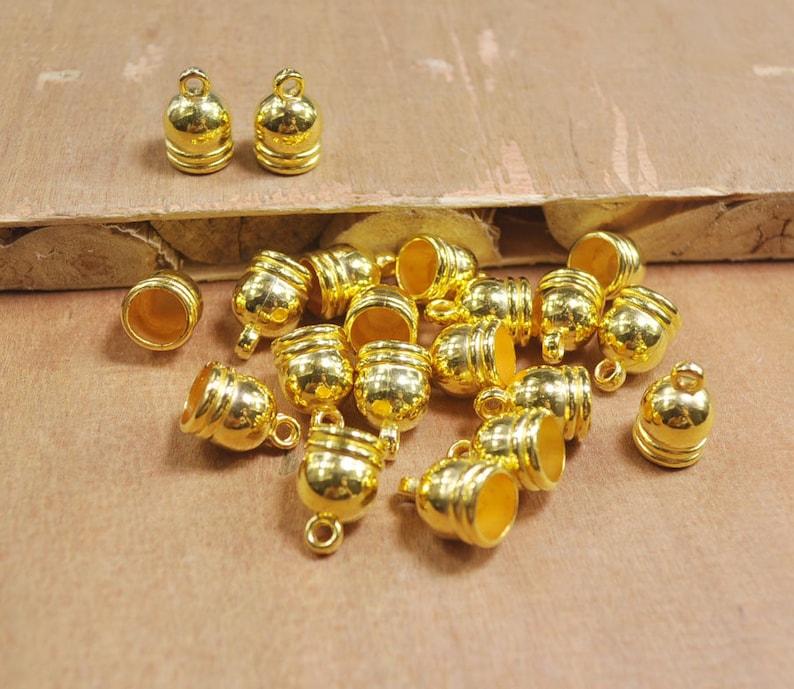 50Pcs Gold End Cap,plastic End Cap,Top,Tube End Caps,string cord caps tassel caps Leather Cord cap,Gold Findings,10x15mm