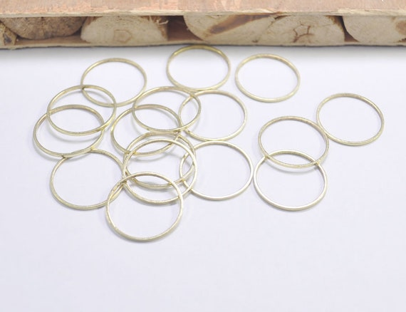Findings 23mm F711 Circle Connector 50pcs Raw Brass Round Rings