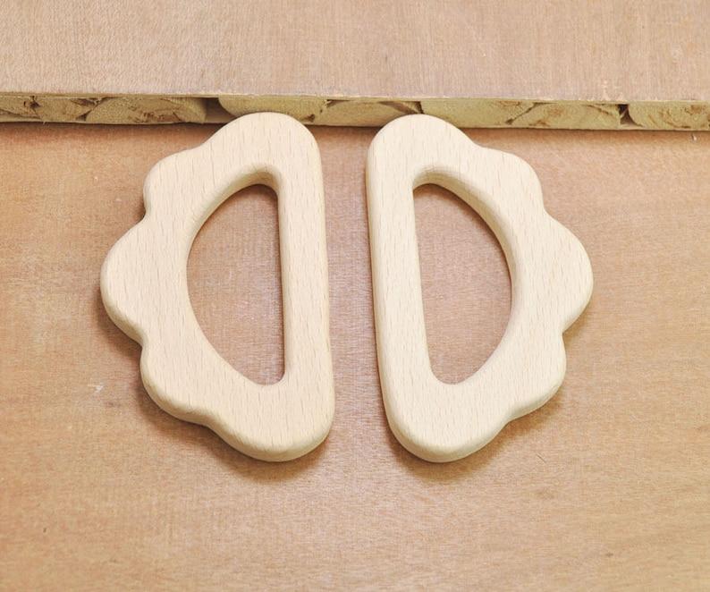 2Pcs Unfinished Wood Cloud PendantBeech Wooden TeetherSafe for teethingWooden Animal Toy for Nursing Necklace or Bracelet