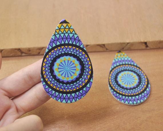 Starry sky wood earrings,Ethnic Jewelry 6Pcs DIY Wooden earrings,Starry sky earrings Jewelry Flat Round Wood Earring-60mm-FF380#