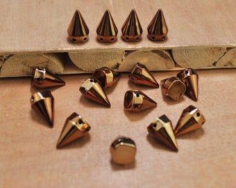 50Pcs Coffee Spikes, Sew On Stud Spikes, plastic spikes, flat back spikes, cone studs,Spikes Stud 10x15mm