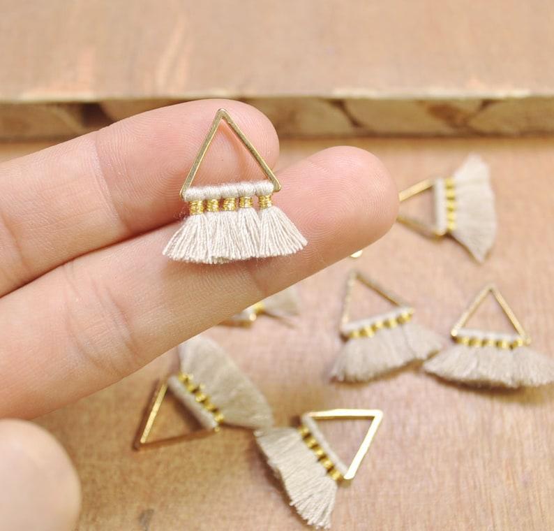 Cotton tassels in gold color triangle brass charm 20mm--FF3-51# 1 Pair Small triangle Tassels\uff0cBeige Tassel earring pendant